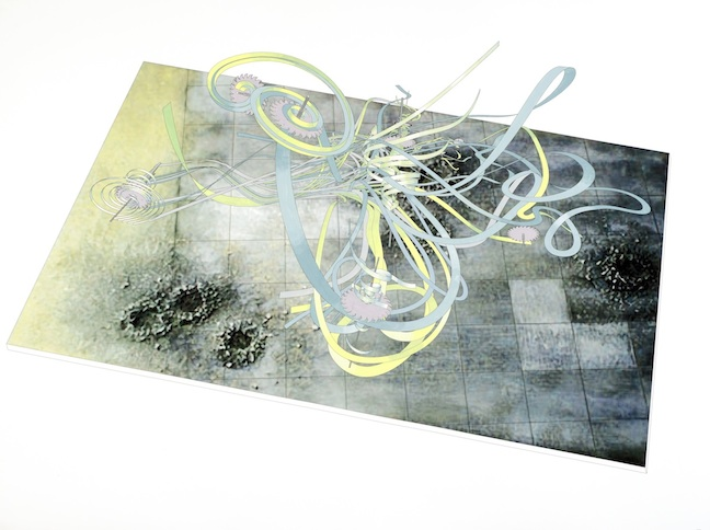 <h4><em>From the Series Entitled 'Sum Over Histories'<br /> 							 Timescape #3B Over a Bomb Field</em></h4>                             2011                             <br /><br />                             Inkjet print and hand-painted watercolor on paper                             </br>                             47.75 x 64 inches                              <br /><br />