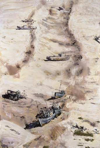 <h4><em>Aral Sea</em></h4>                             2007                              <br /><br />                             Oil on gessoed paper                             </br>                             75 x 50 inches                              <br /><br />
